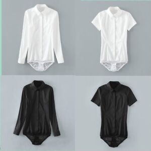 04eb6c3b97657c Lady Bodysuit Shirt Work Blouse Button Down Short Long Sleeves Tops ...