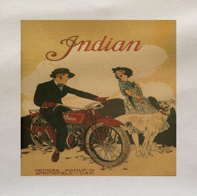 Indian Bike Printed On Fabric Panel Make A Cushion Upholstery Craft