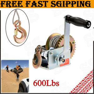 Towing & Hauling 600 lbs Hand Winch Heavy Duty Steel Cable Crank Gear Winch ATV Boat Trailer Parts & Accessories