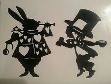 "Rabbit and mad hatter alice in wonderland Vinyl decal sticker 11 X 8"" wall glass"