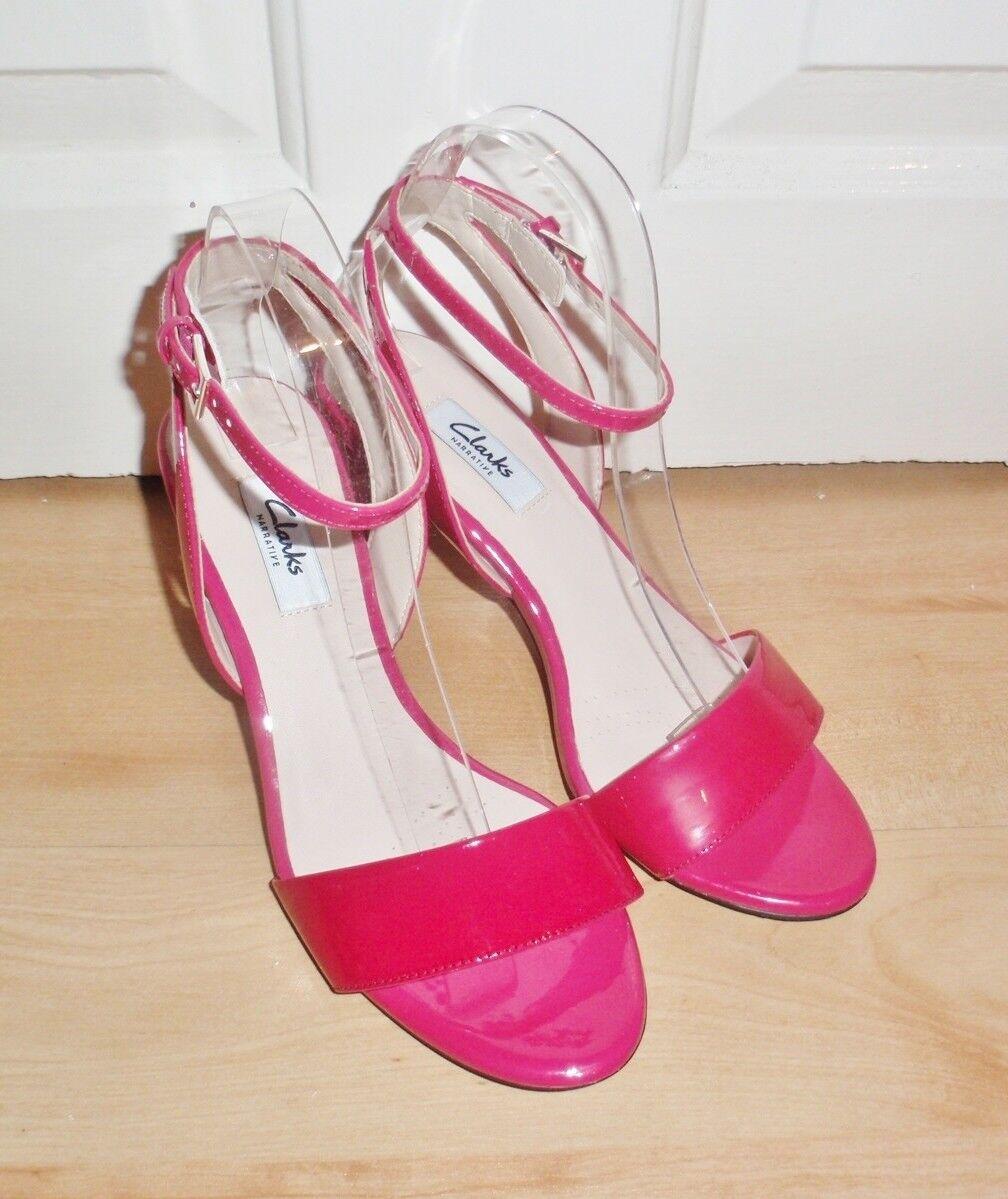 BNIB Clarks Narrative womens AMALI JEWEL fuchsia patent leather heeled shoes