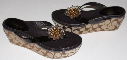 "COACH 8 & 7.5 Brown Patent Thong 4.75"" Heel 1.5"" P"