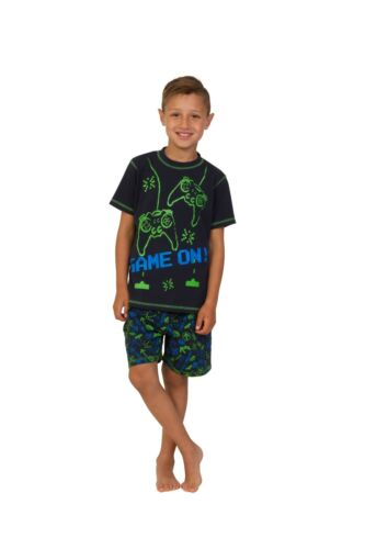 Boy/'s Space Invader Game On Controller Short Pyjamas 7-16 Years Green Navy