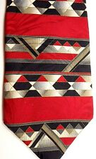 "Como Collection Mens Silk Tie 56.5"" X 4"" Multi-Color Abstract Horizontal Stripes"