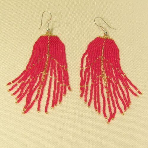 "3/"" LONG Handmade Shiny Red Gold Chandelier Boho Style Dangle Seed Bead Earring"
