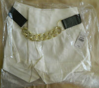 Wet Seal Medium Ivory Dress Shorts With Chain Belt Brand Ships Free In Us