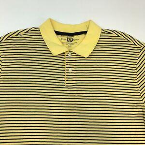 Club Room Polo Shirt Men's Size 2XL XXL Short Sleeve Blue Yellow Striped Golf