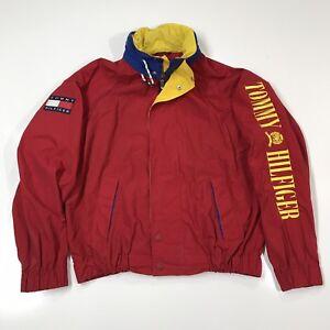 Details about Vintage 90s Tommy Hilfiger Sz Large Windbreaker Jacket Spell Out Big Flag Hooded