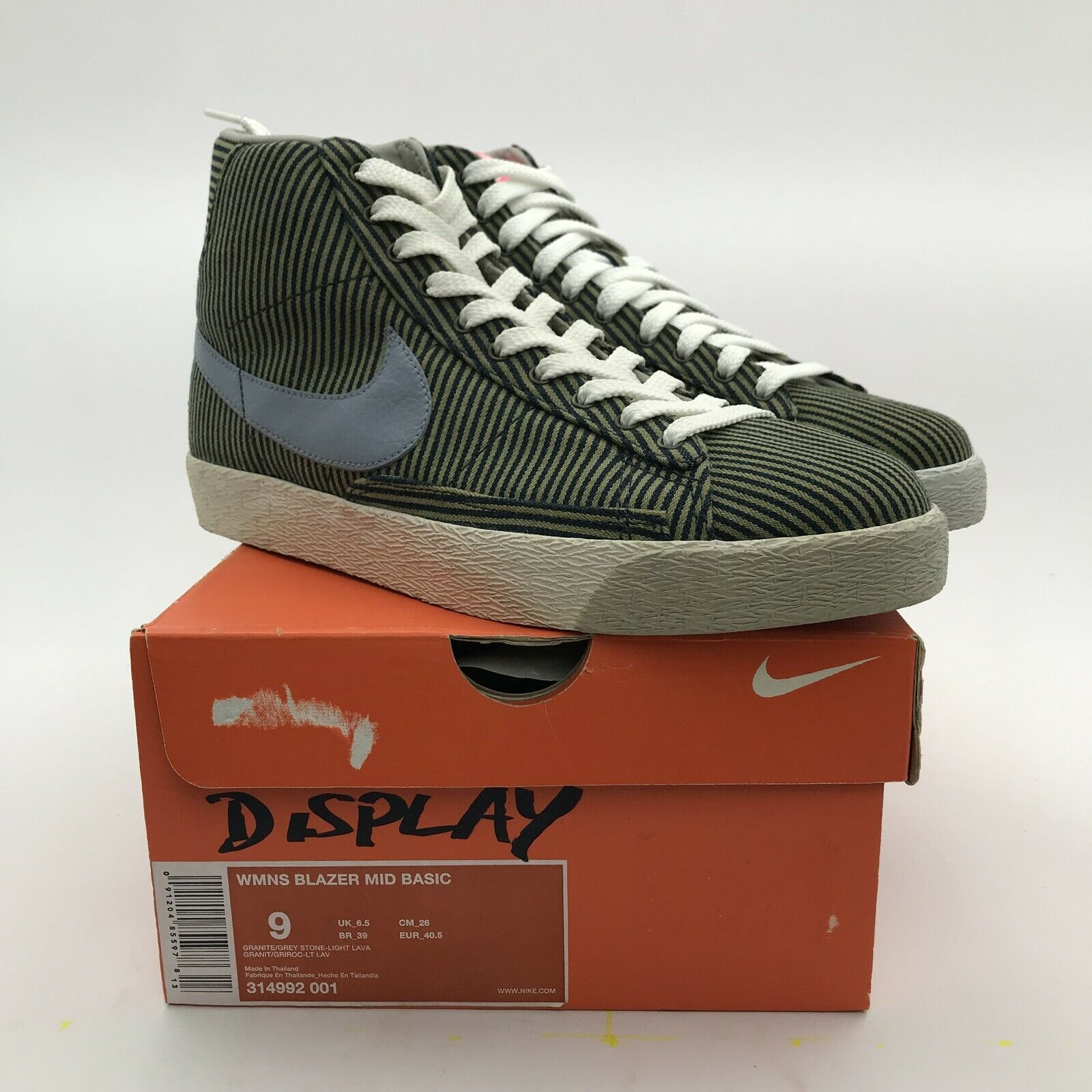 Nike Women Blazer Mid Basic Pinstripe Graphite Grey 314992-001 sb NEW rare US 9