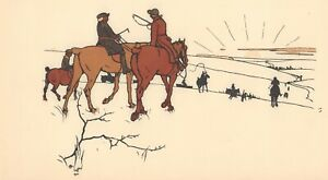 Cecil-Aldin-Original-Fox-Hunting-Lithograph-Print-Dated-1902-Fox-Hunting-Decor