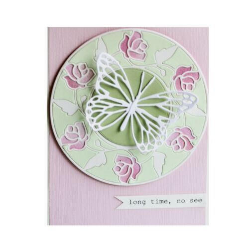 Flower Frame Metal Die Cut Stained Glass Rose Circle Memory Box Cutting Dies