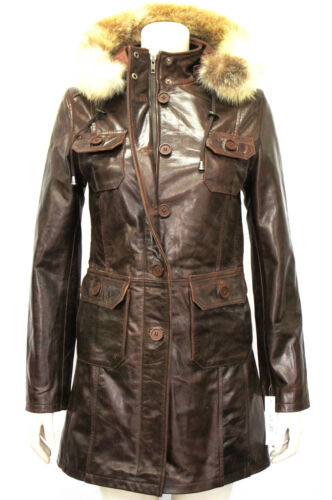 Glazed Ladies Woman's Jacket Designer Real Smart Brown Oxford Hooded Leather HUwq5Xn