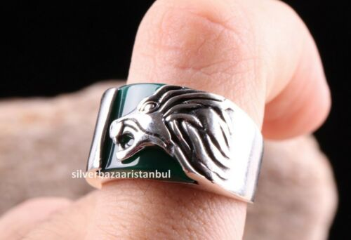 Details about  /Lion Style Green Agate Stone Turkish 925 Sterling Silver mens ring ALL SİZE us