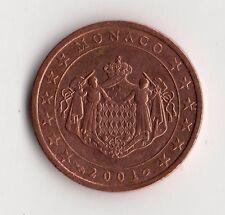 TRES RARE MONNAIE DE 2 CENTIMES D'EUROS PRINCIPAUTE DE MONACO DE 2001 @ RARE !!