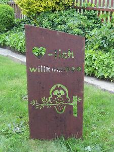 Gartenschild-034-Willkommen-034-rost-braun-Hoehe-ca-90cm-Gartenstecker-mit-Schriftzug