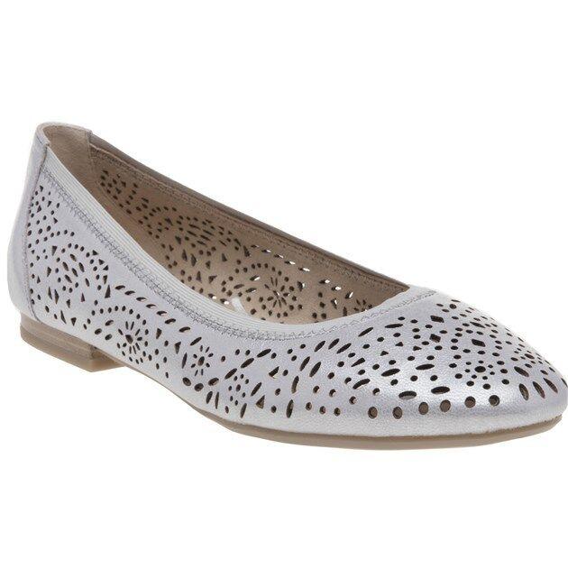 New Womens Caprice Metallic 22104 Leather Shoes Ballerina Slip On