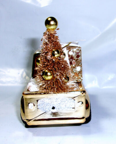 """4.5/"""" shatterproof gold pick-up truck Christmas ornament snow tree present in bed"""