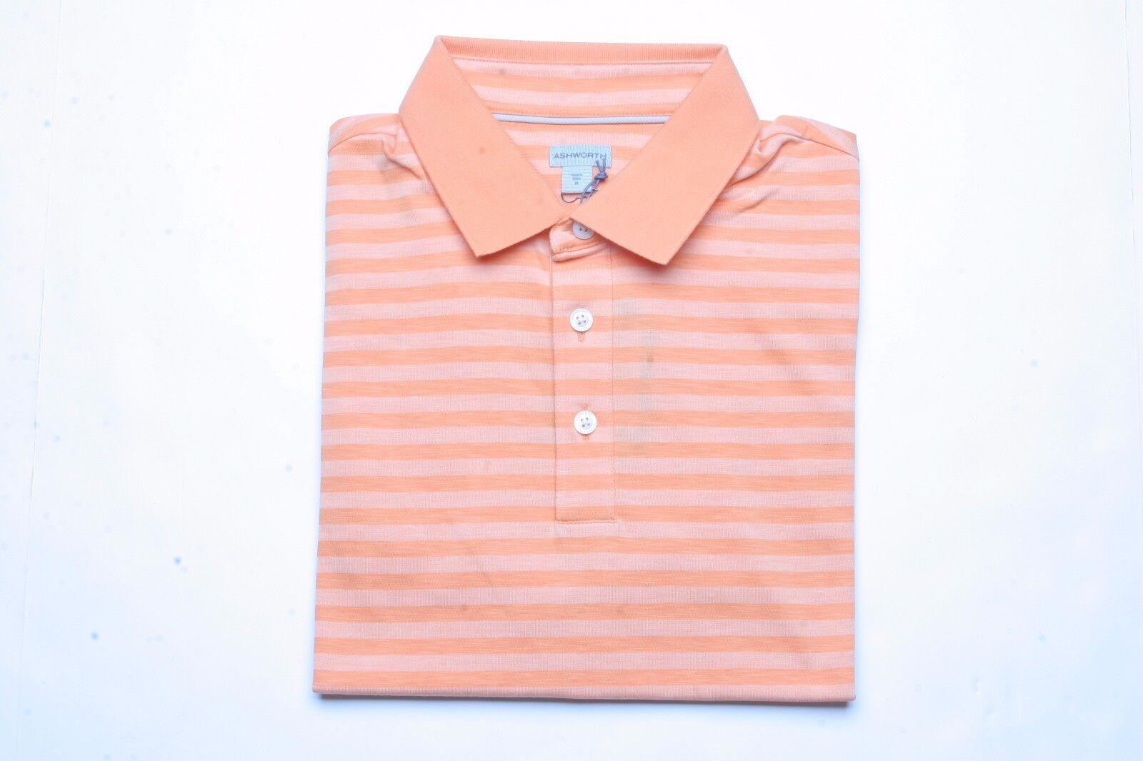 Ashworth Striped Short Sleeve Polo Shirt (M) AE4871 Sunset