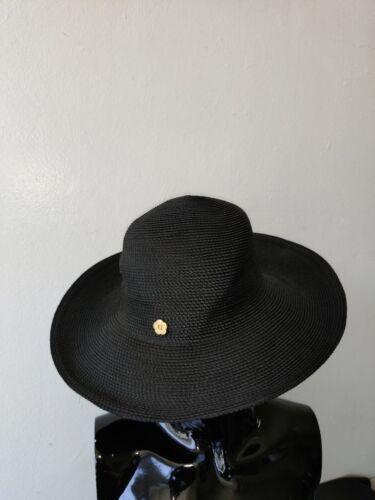 Eric Javits Solid Black Straw Hat Short Brim Woven
