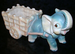 Vintage-Porcelain-Ceramic-ELEPHANT-w-CART-PLANTER-Vase-Flower-Pot-FIGURINE-7-034