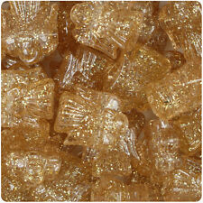 24 Gold Sparkle 25mm Christmas Angel Plastic Pony Beads Made in the USA