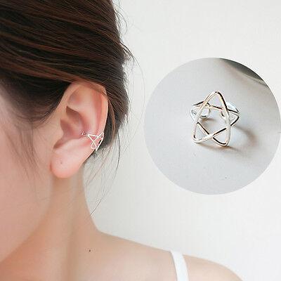 Fashion 925 Sterling Silver Ear Cuff Wrap Clip Hollow Star Earring No Piercing