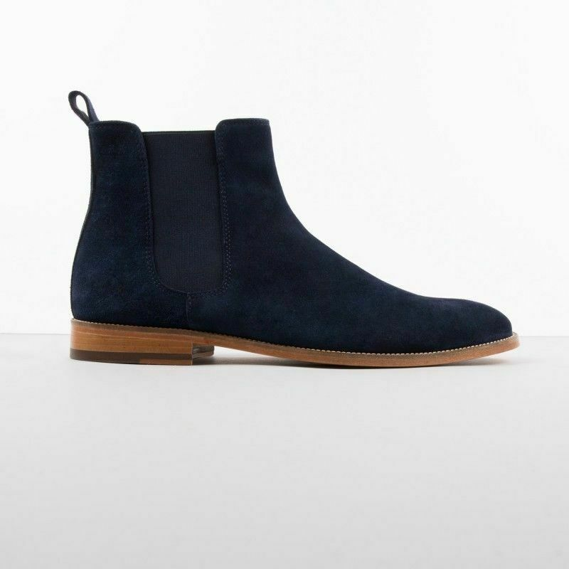 botas para hombre Hecho a Mano De Cuero Gamuza Azul Marino Vestido Formal Informal Chelsea Zapato Nuevo
