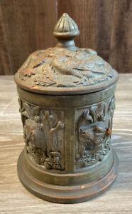 Antique-Ornate-Painted-Terra-Cotta-Tobacco-Jar-Humidor-Birds-amp-Animals-JS-1426