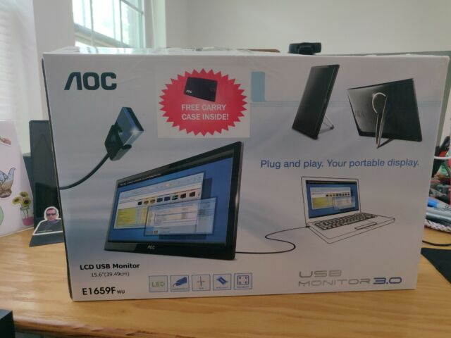 "AOC USB Monitor 3.0 Plug-and-Play 15.6"" LCD USB Monitor E1659F BRAND NEW"