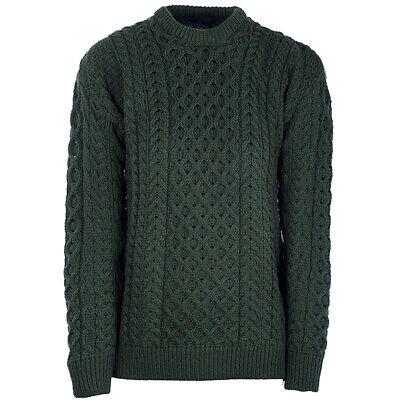 Mens Crew Neck Merino Wool Sweater by Aran Mills Bottle Green   eBay