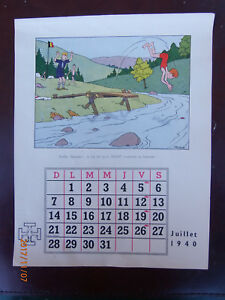 Illustration Calendrier.Details About Herge Tintin Illustration Sur Page De Calendrier Scout Juillet 1940 Tbe Rare