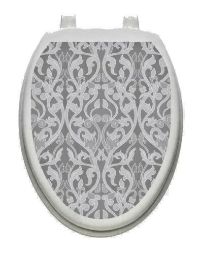 Toilet Tattoos Nouveay Gray Toilet Lid Cover Vinyl Cover Removable 1166