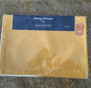 Tommy-Bahama-set-of-4-Embroidered-Placemats-13-X-19-inches-Mustard-Yellow