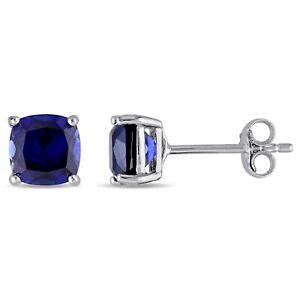 Haylee-Jewels-Sterling-Silver-Cushion-Cut-Created-Blue-Sapphire-Stud-Earrings