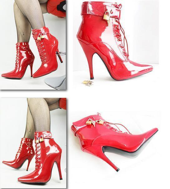 Womens Pointy Toe Ankle Boots Patent Leather Lace Up Stilettos Club Dance shoes