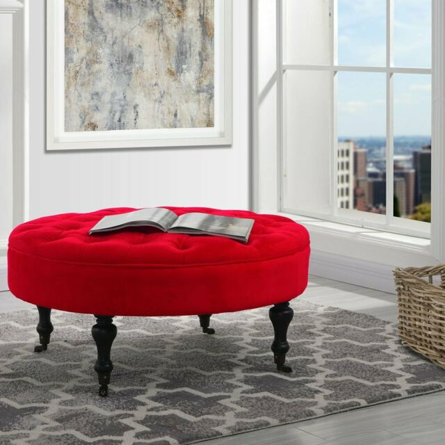 Footrest Footstool Ottoman With Casters