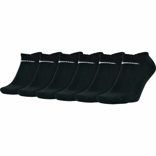 Nike Black Performance Cotton Cushioned No Show Socks SX5176-010 NEW 6 Pairs