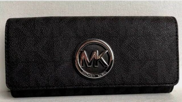 d0e5688f00656d New Michael Kors Fulton Flap Continental wallet Signature PVC Black