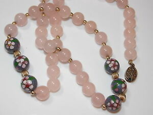 Vintage-Pink-10mm-Rose-Quartz-Stone-Violet-Cloisonne-Knotted-Silver-Necklace