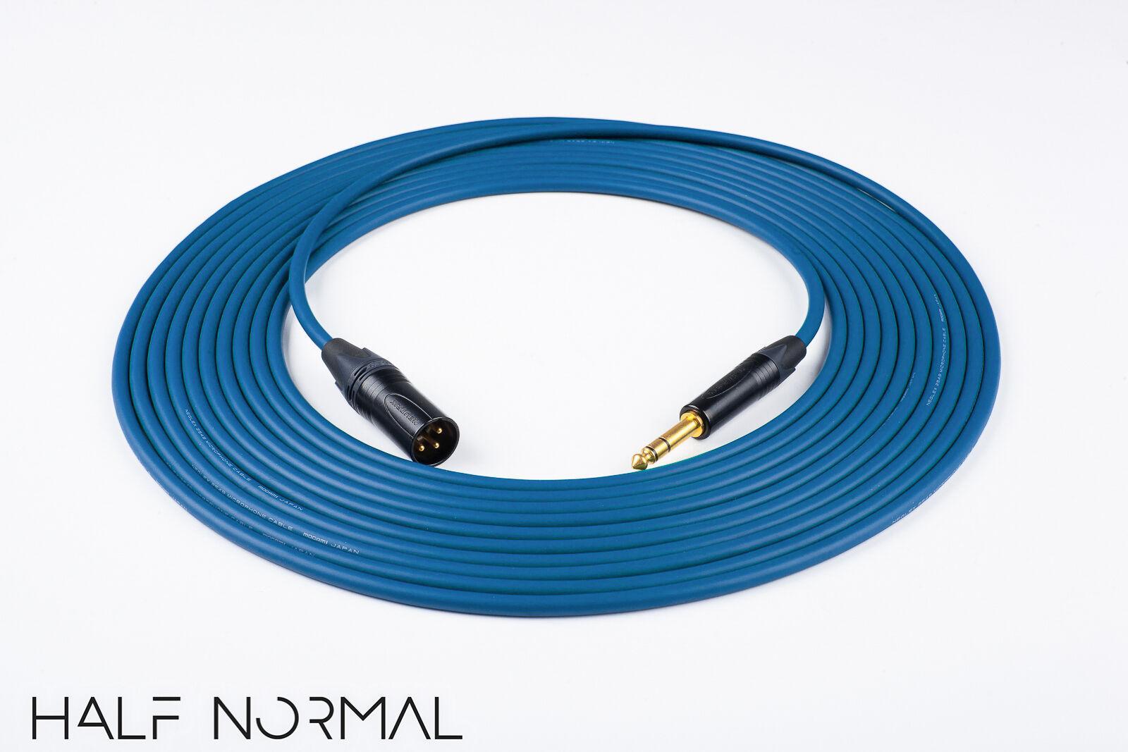 50' Mogami 2549 Standard Balanced Cable Neutrik gold XLR Male to 1 4  TRS bluee