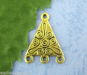 RéAliste 5 Pendentifs Breloques Triangles Sapin Doré 16 X 22 Mm
