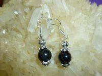 Boucles D'oreilles En Obsidienne Oeil Celeste Perles 7 Mm Monture En Arg 925