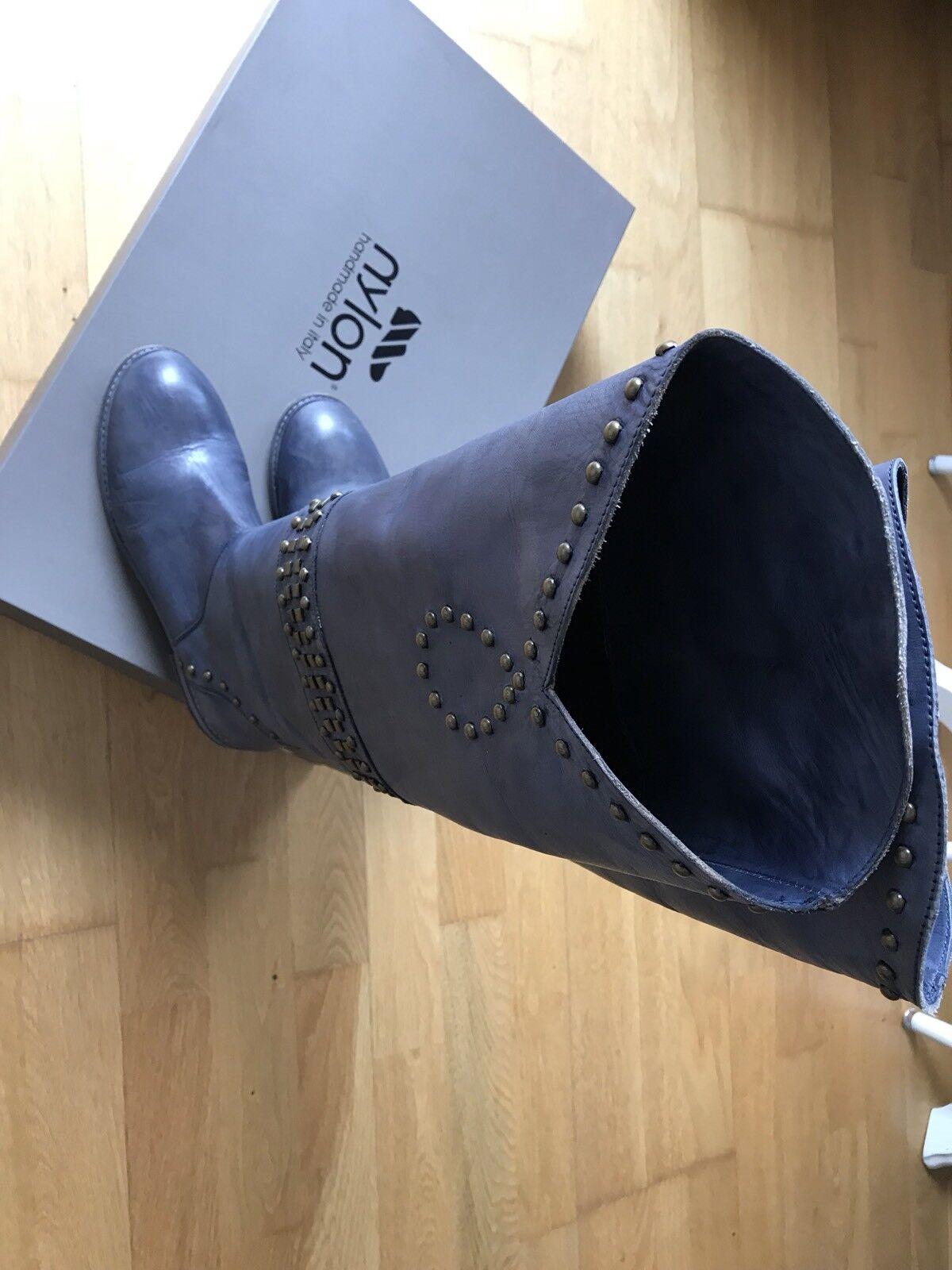 Nylon Stiefel handmade in  Jeans Blau Nieten Festival Look Gr. 39 wie neu