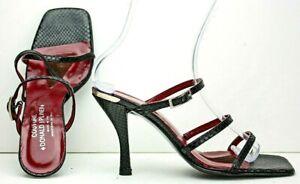 Donald-J-Pliner-Womens-Sandal-size-9-5-M-Black-Leather-Lizard-Strappy-Heels-MO8
