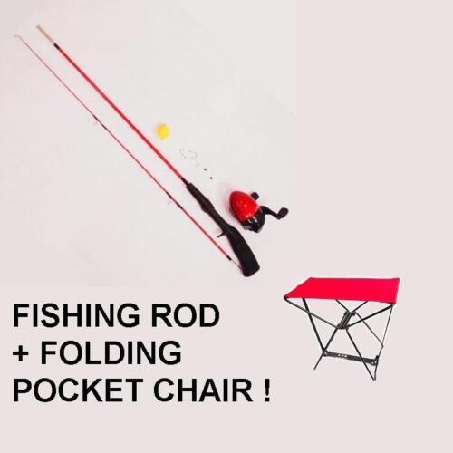 Fishing Rod Folding Camping Pocket Chair  COMBO gift set present New travel UK