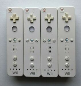 Lot of 4 Nintendo Wii Remote White Controllers Official Tested Working RVL-003