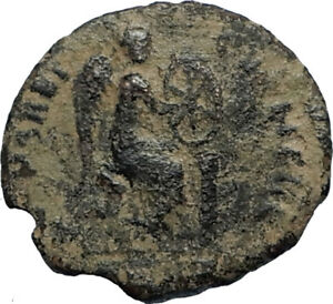 EUDOXIA-Arcadius-Wife-401AD-Authentic-Ancient-Roman-Coin-VICTORY-CHI-RHO-i67533