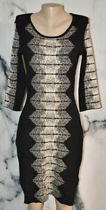 GABBY SKYE Black Beige Patterned Sweater Dress Medium 3/4 Sleeve Rayon Blend