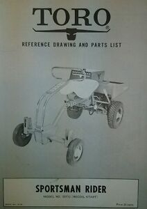Details about TORO Sportsman Rider Riding Mower Parts Manual 16pg #50111 &  50121 Book#7603 RER