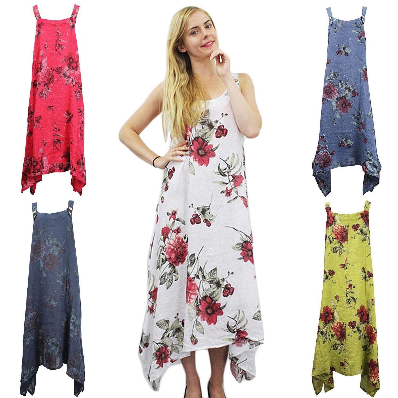 3d0426c4a9dd9d Damen Neu Leinen Riemchen Bohomian Boho Hippie Kleid Blaumen Patchouli  nwqasv4021-neue Kleidung